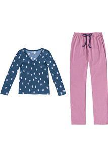 Pijama Hering Longo Estampado Feminino - Feminino