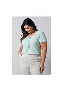 Blusa Texturizada Almaria Plus Size New Umbi Pregas Frontais Verde