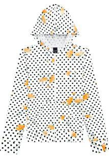 Jaqueta Estampada Com Capuz Malwee Branco - G
