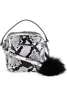 Bolsa Couro Luz Da Lua Mini Bag Luccido Serpente Pompom Feminina - Feminino-Preto+Branco