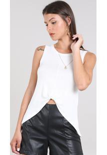 Regata Feminina Mullet Com Nó Decote Redondo Off White