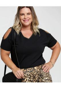 Blusa Feminina Open Shoulder Brilho Plus Size