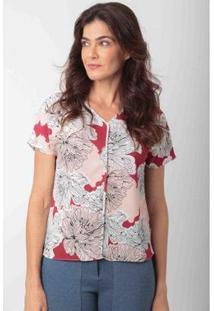 Blusa Decote V Crepe Flores Ervadoce Feminina - Feminino-Vinho