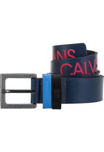 Cinto Couro Calvin Klein Logo Masculino - Masculino-Marinho