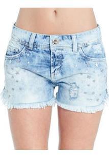 Shorts Jeans Destonado Destroyed Barra Desfiado Colcci - Feminino-Azul