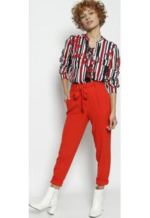 Blusa Com Amarraã§Ã£O - Branca & Vermelha - Malweemalwee