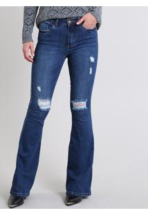 f449ddb57 ... Calça Jeans Feminina Flare Com Rasgos Cintura Alta Azul Escuro