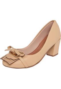 Scarpin Dafiti Shoes Laço Franjas Bege
