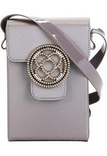 Bolsa Petite Jolie Mini Bag Alça Transversal Shiloh Bag Club Feminina - Feminino-Cinza