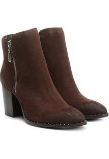 Bota Couro Cano Curto Shoestock Salto Bloco Feminina - Feminino-Café