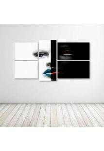 Quadro Decorativo - Face Woman Pb - Composto De 5 Quadros - Multicolorido - Dafiti