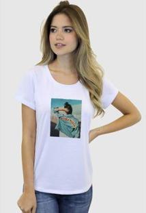 Camiseta Suffix Blusa Estampa Aplicada Em Tecido Jaqueta Jeans Strass Basica Gola Redonda Feminina - Feminino-Branco