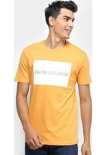 Camiseta Calvin Klein Estampa Logo Masculina - Masculino-Mostarda