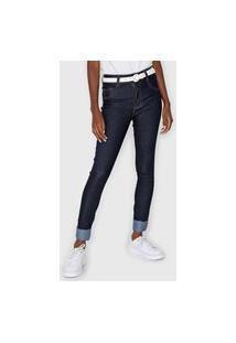 Calça Jeans Biotipo Skinny Aplicações Azul-Marinho