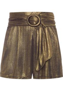 Short Feminino Gold Com Cinto - Dourado