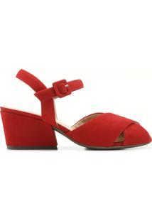 Sandália Vermelha Nobuck Bibiana | Alme