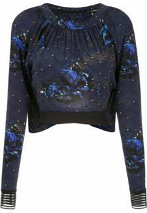 À La Garçonne Top 'Night' Em Jersey - Azul