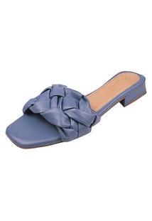 Sandália Tamanco Mule Tranças Dona Madame Azul