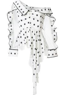 Self-Portrait Blusa Assimétrica Com Estampa De Estrelas - Branco