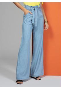 Calça Jeans Claro Modelo Clochard Pantalona