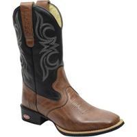 Bota Texana Country Bico Quadrado Couro Legitimo - Masculino-Café 29f96d24ddb