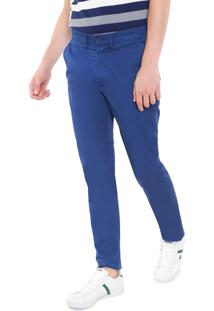 Calça Sarja Lacoste Slim Lisa Azul
