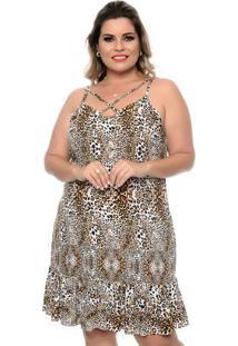 Vestido Leopardo Marrom Plus Size