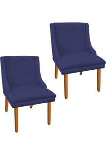 Kit 02 Cadeira Poltrona Decorativa Liz Suede Azul Marinho - D'Rossi