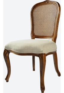 Cadeira Brasão Linho Areia/Madeira Carvalho Americano