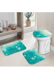 Jogo Tapetes Para Banheiro Snowflakes Único - Kanui