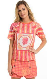 T-Shirt Moikana Estampada Com Gola De Tricô - Feminino-Laranja