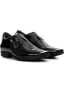 Sapato Social Couro Pegada Com Fivela - Masculino-Preto+Prata