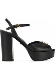 Dolce & Gabbana Sandália Com Logo E Salto 120Mm - Preto