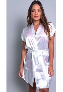 Robe Mvb Modas Noiva Roupão Cetim Personalizado Branco.