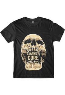 Camiseta Bsc Caveira Hard Core Sublimada - Masculino-Preto
