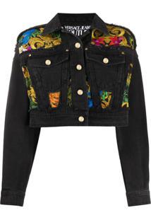Versace Jeans Couture Baroque Panel Denim Jacket - Preto