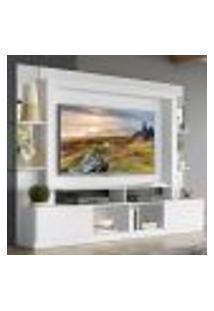"Rack C/ Painel E Suporte Tv 65"" Prateleiras C/ Espelho Oslo Multimóveis Branco"