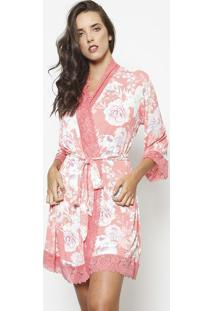 Robe Com Renda & Amarraã§Ã£O- Coral & Off Whitefruit De La Passion