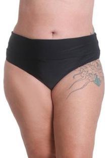 Calcinha Biquíni Praaiah Avulso Plus Size Hot Pants - Feminino-Preto