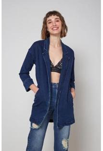 Blazer Jeans Oh, Boy! Botão Frente Feminina - Feminino-Azul