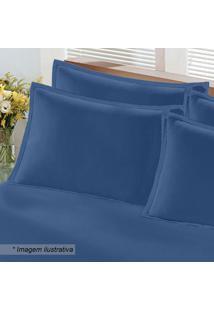 Fronha Em Malha Com Moldura- Azul Marinho- 70X50Cmbuettner