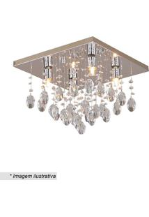 Plafon Quadrado Com Pingentes- Cristal & Inox- 25X34Hevvy