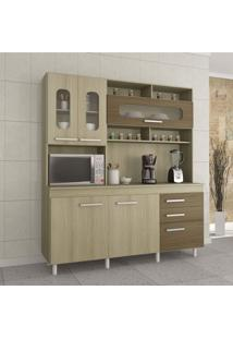 Cozinha Compacta Mônaco 5 Portas 3 Gavetas Linha Criative Atualle Móveis Cream/Malbec