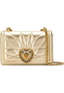 Dolce & Gabbana Bolsa Transversal Com Logo De Coração - Dourado