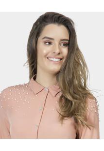 Camisa Manga 3/4 Pérolas Tecido Rosa Silice - Lez A Lez