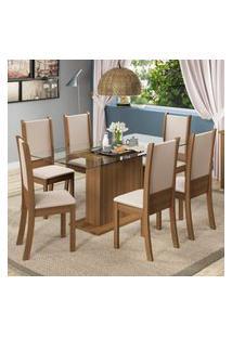 Conjunto Sala De Jantar Madesa Modena Mesa Tampo De Vidro Com 6 Cadeiras Marrom