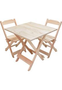 Jogo Mesa Madeira Dobravel Com 2 Cadeiras Sem Pintura