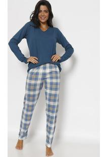Pijama Quadriculado - Azul & Brancolupo