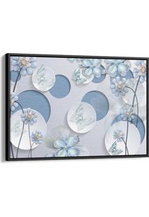 Quadro 60X90Cm Flores Azul Fada E Borboletas Azuis E Brancas Canvas Moldura Flutuante Preta