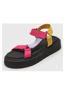 Sandália Flatform Zatz Color Block Preto/Rosa
